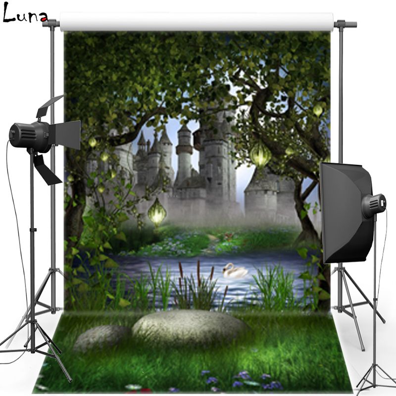 Forest Castle Vinyl Photography Background Backdrop For Children Fairy Tale New Fabric Flannel Background For Photo Studio 1649 bookshelf vinyl photography background backdrop for kids wood floor new fabric flannel background for children photo studio 2694