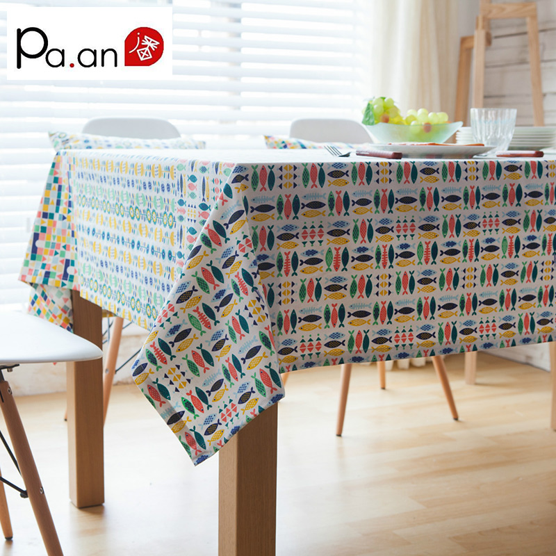Colorful Little Fish Table Cloth Linen Tablecloths Pastoral Plain  Rectangular Coffee Table Cloth Home Textile Decoration