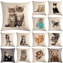 Милый Кот, диванная, декоративное хлопковое белье, наволочка для подушки, наволочка 45*45, декоративная подушка для дома, наволочка 40624