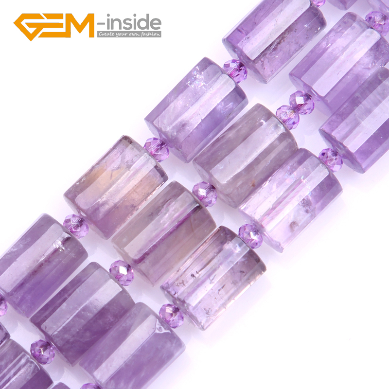 цена 10x14mm Column Faceted Amethysts Beads Natural Stone Beads Loose Beads For jewelry Making Strand 15 Inches Gift Free shipping
