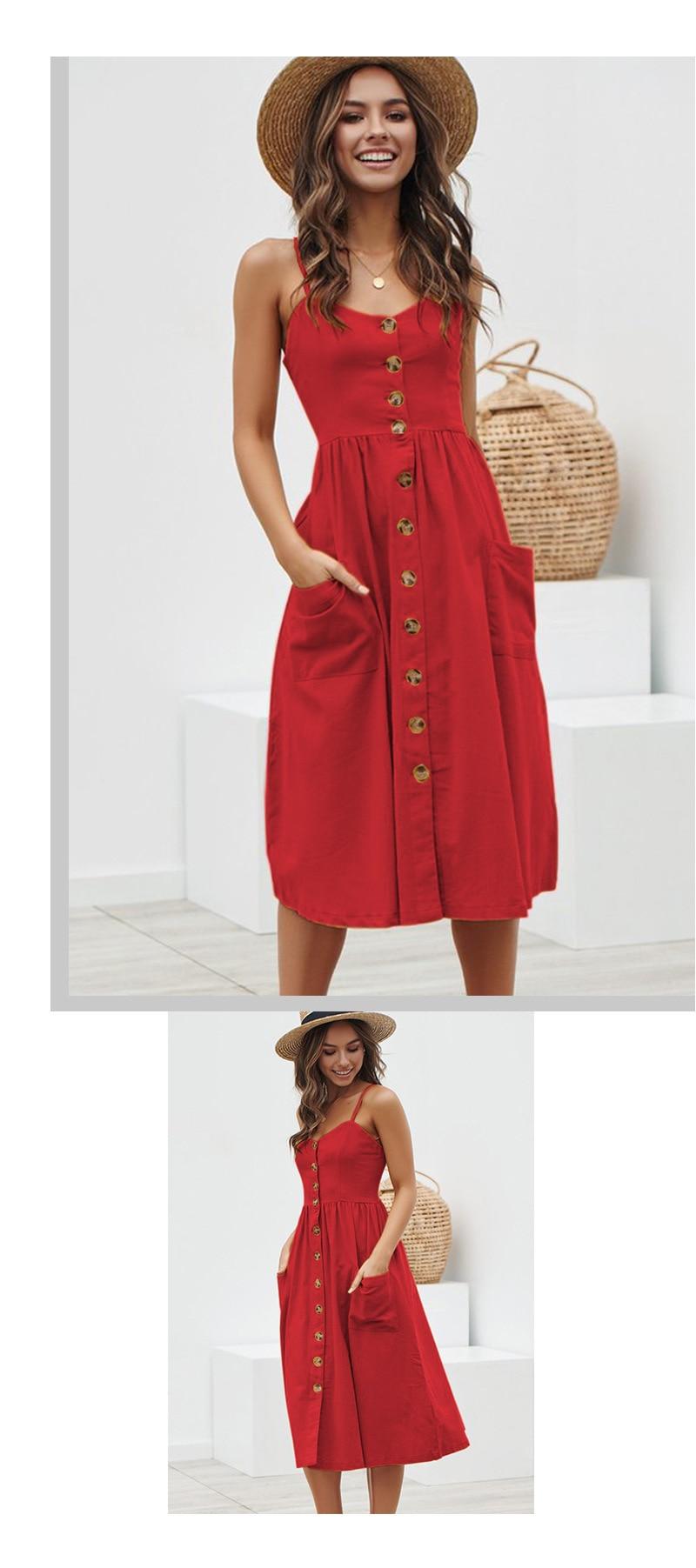 Button Striped Print Cotton Linen Casual Summer Dress 19 Sexy Spaghetti Strap V-neck Off Shoulder Women Midi Dress Vestidos 5