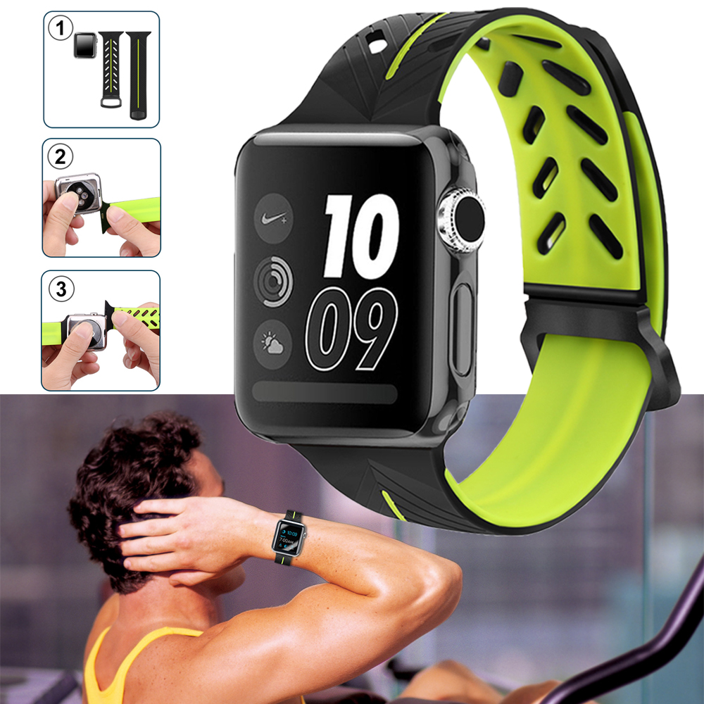 JANSIN Silicone Replacement Sport Band For 38mm Apple Watch band Series1 2 3 42mm Wrist Bracelet Strap For iWatch Sports Edition sport silicone band strap for apple watch nike 42mm 38mm bracelet wrist band watch watchband for iwatch apple strap series 3 2 1