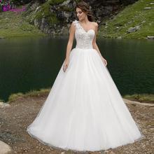 Detmgel Romantic One Shoulder A-Line Wedding Dresses 2019
