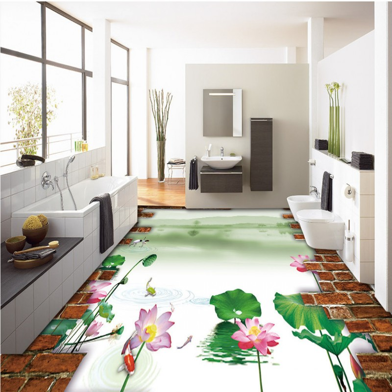 Free Shipping 3D Chinese wind Hawthorn landscape floor painting background wall thickened anti-skidding bathroom flooring mural chinese new harvest hawthorn extract hawthorn berry extract flavone 600g