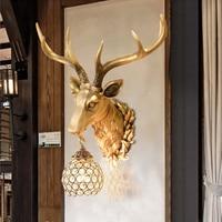 Европейский творческий голова оленя светодиодный настенный светильник K ТВ коридор ресторан украшения свет и фонари ТВ фоне стены лампы На