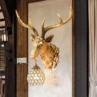 Rustic Wall Sconce Creative Deer Head led Wall Lamp KTV Corridor Restaurant Decoration Light and Lanterns Wall Lamps Sittingroom
