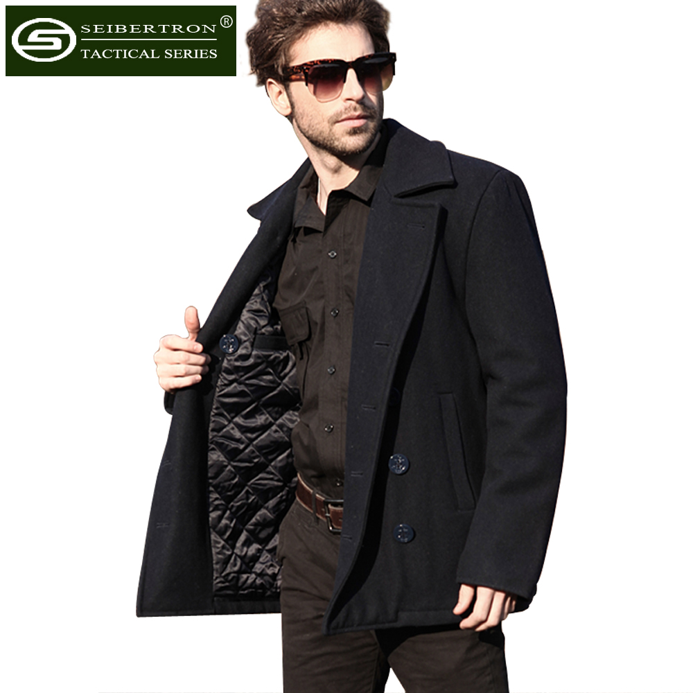 New Men's Woolen coat US Navy Type 80% Wool USN Pea Coat Leisure jacket Wool Blends Black Blue lapel pea coat in wool blend