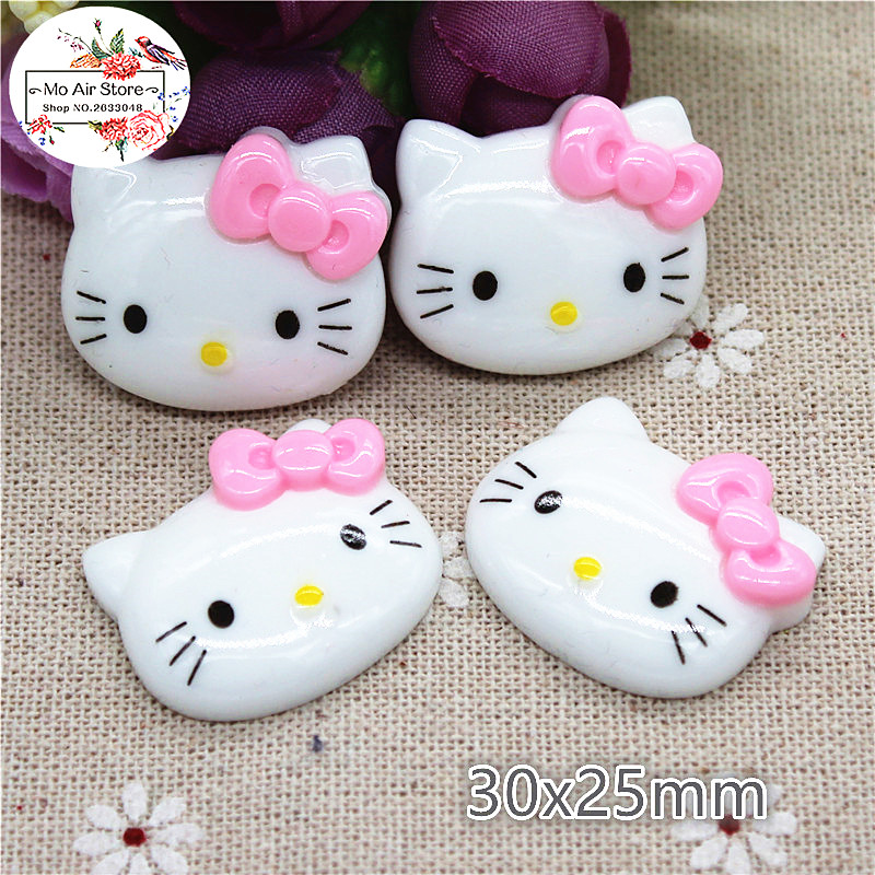 10pcs Resin Kawaii Hello Kitty With Pink Bow Flat Back Cabochon Art Decoration Charm Craft DIY Accessories 25x30mm