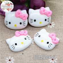 10pcs Resin kawaii hello kitty with pink bow flat back Cabochon Art Decoration Charm Craft DIY accessories 25x30mm(China)