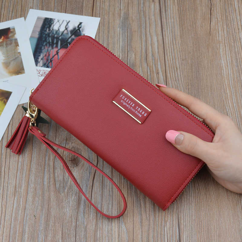 c867b2df5f19 ... New Arrival Long Wallet Women Tassel Pendant Purse Forever Young Letter  Print Female Handy Bags Coin ...