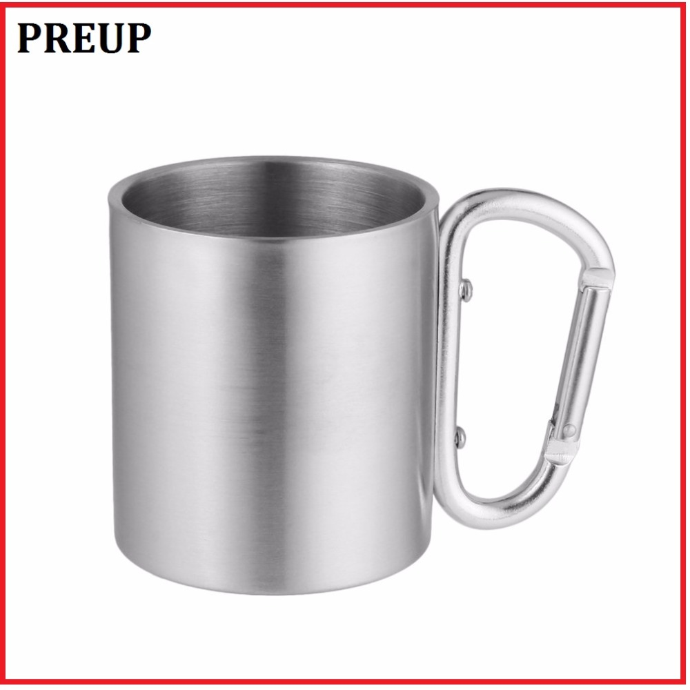 Portable & Quality 220ml Stainless Steel Camping Kettle Outdoor Traveling Hiking Sports Camp with Carabiner Hook Double Wall