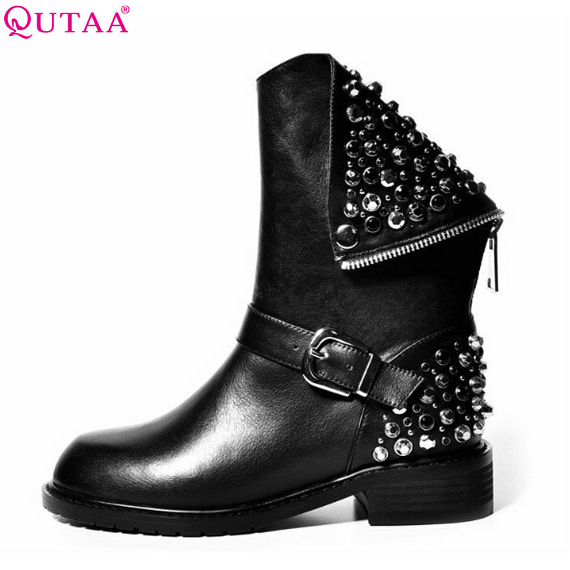 QUTAA 2018 Punk Rhinestone PU+Leather Square Low Heel Woman PU leather Ankle Boots Women Shoes Ladies Motorcycle Boot Size 34-43 vinlle women boot square low heel pu leather rivets zipper solid ankle boots western style round lady motorcycle boot size 34 43