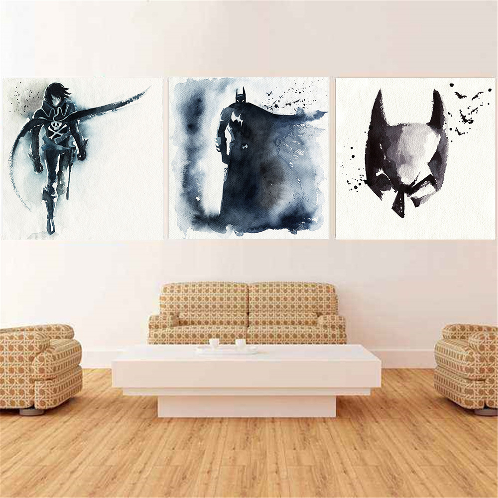 Us 2 01 35 Off Watercolor Batman Catwoman Cartoon Anime Poster Nordic Style Kids Room Decor Boys Wall Art Picture Bedroom Decoration Cuadros In
