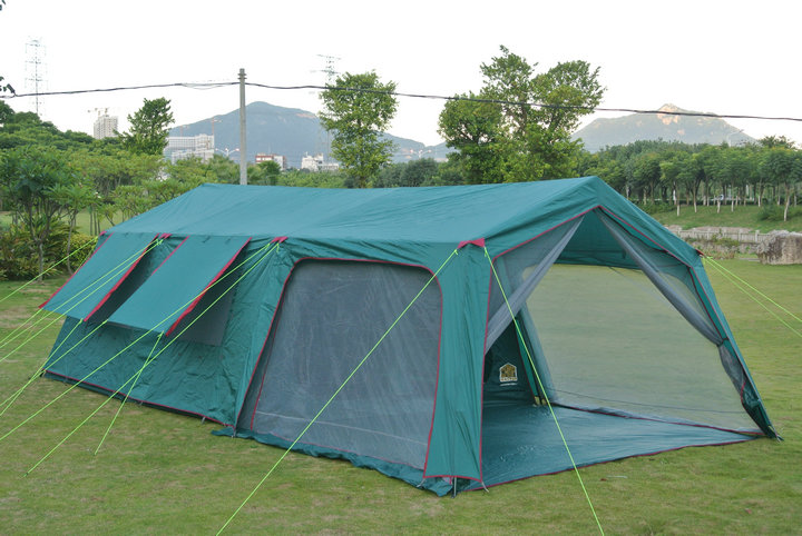 Luxury tents Outdoor 10-14 people two-bedroom tent camping equipment super large tent family barbecue automatic double layers