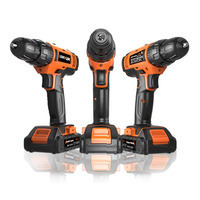 Electric Cordless Drill With 2 Lithium Batteries Rechargeable Screwdrivers Impact Hand Power Home Woodworking Tools Set 20V
