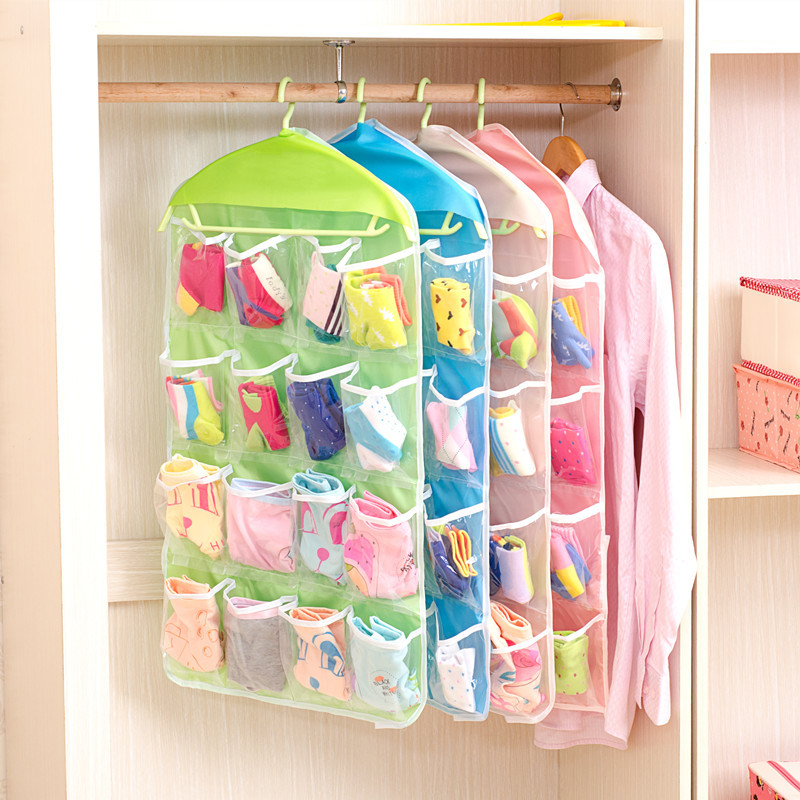 Urijk 16 Pockets Wall Wardrobe Hanging Organizer Home Sundries Jewelry  Storage Bags Hanger Organizer For Underwear