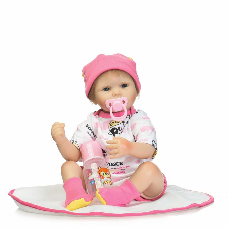 55cm Soft Body Silicone Reborn Baby Doll Toy For Girls Newborn Girl Baby Birthday Gift of Child Bedtime Early Education Toy npkdoll 22 toy for girls 55cm soft silicone doll reborn baby newborn girl baby birthday gift for child bedtime early education