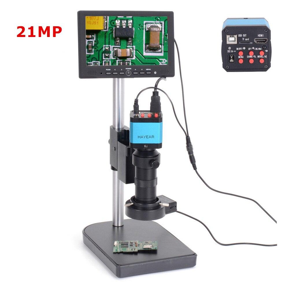 21MP 1080P HDMI USB Digital Industrial Microscope Camera 100X C-mount Lens 40 LED Light Microscope 7