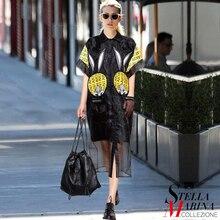 2017 European Style Summer Women Black Shirt Dress Short Sleeve Geo Pattern Applique Calf Length Female Organza Loose Dress 2307