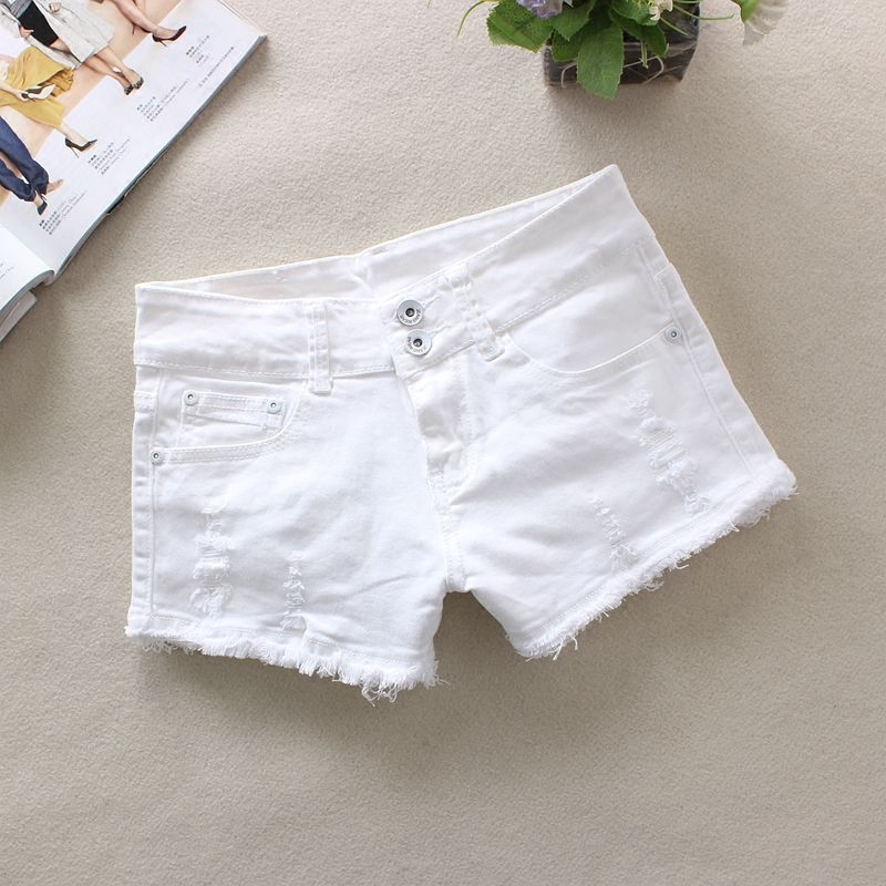New 2019 Summer Sexy Women's Mid Waisted White Shorts Fashion Slim Fit Denim Jeans Shorts Y107