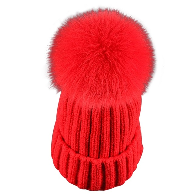 Detachable Real Fux Fur Pompons Hats Autumn Winter Warm Hat for Women Girl Lady Fashion Beanie Bonnet  Knitted Thick Gorros Caps