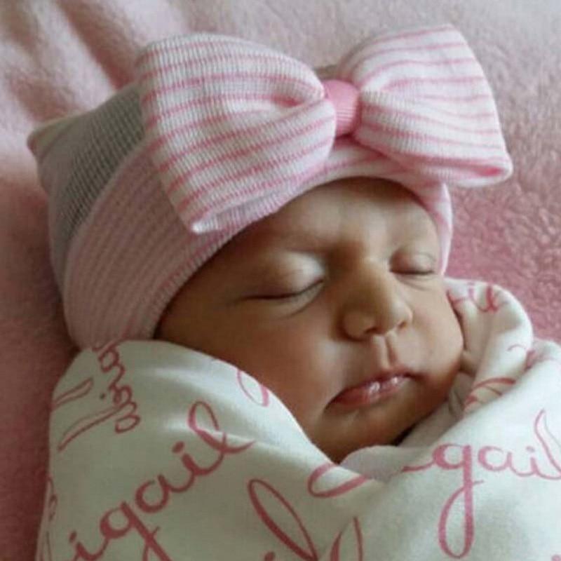 Newborn Hats Baby Girl Boy Cotton   Beanie   Big Bow Newborn Soft Crochet Knit Kids Caps Hat Baby Toddler Hat Accessories