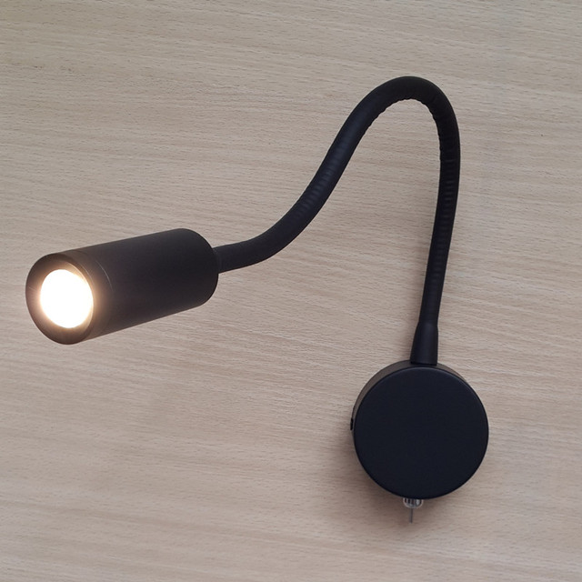 Topoch Bed Side Lamps for Hotels Campers Boats Flexible Arm Compact Neat Built-in Driver Matte Black LED 3W AC100-240V