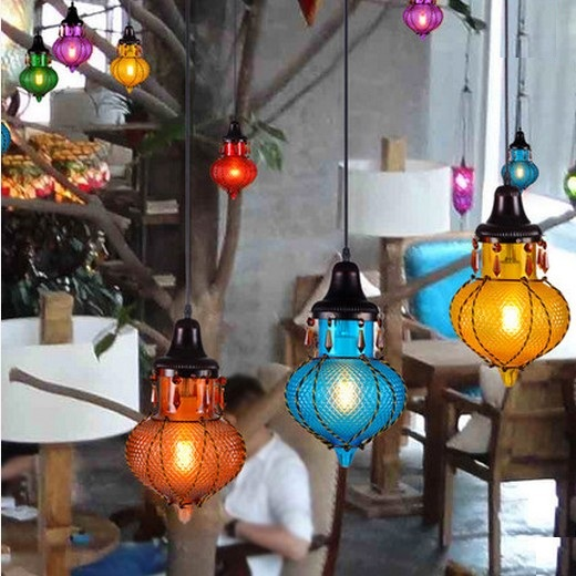 Amercian Crystal Glass Vintage Pendant Light Fixtures For Bedroom Home Decorate Hanging Lamp Mediterranean Sea Style DropLight