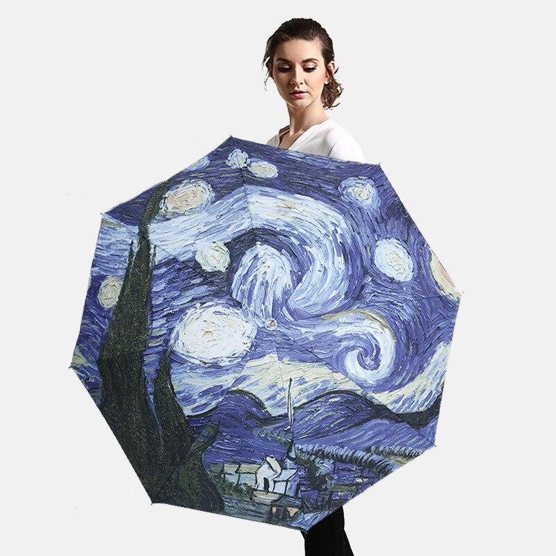 Creative Anime Oil Pating Folding Umbrella Rain Women Windproof UV Sunny and Rainy Womens Umbrella Paraguas