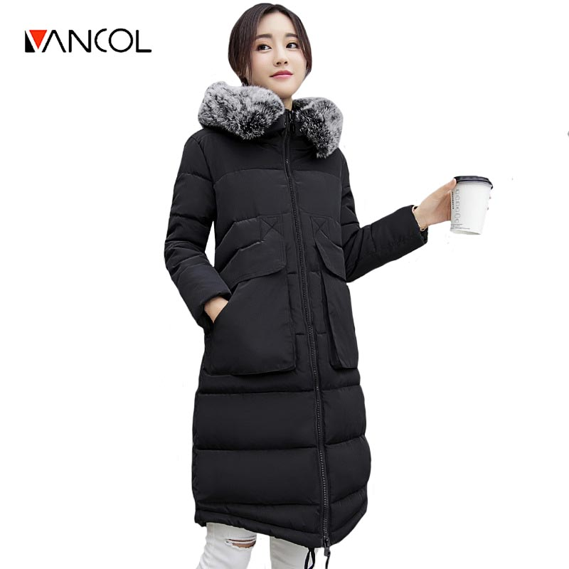 Vancol Wholesale Long Slim Red Female Winter Wear Coat Hooded Cotton Down Parka With Fur Collar Black Winter Jacket Women