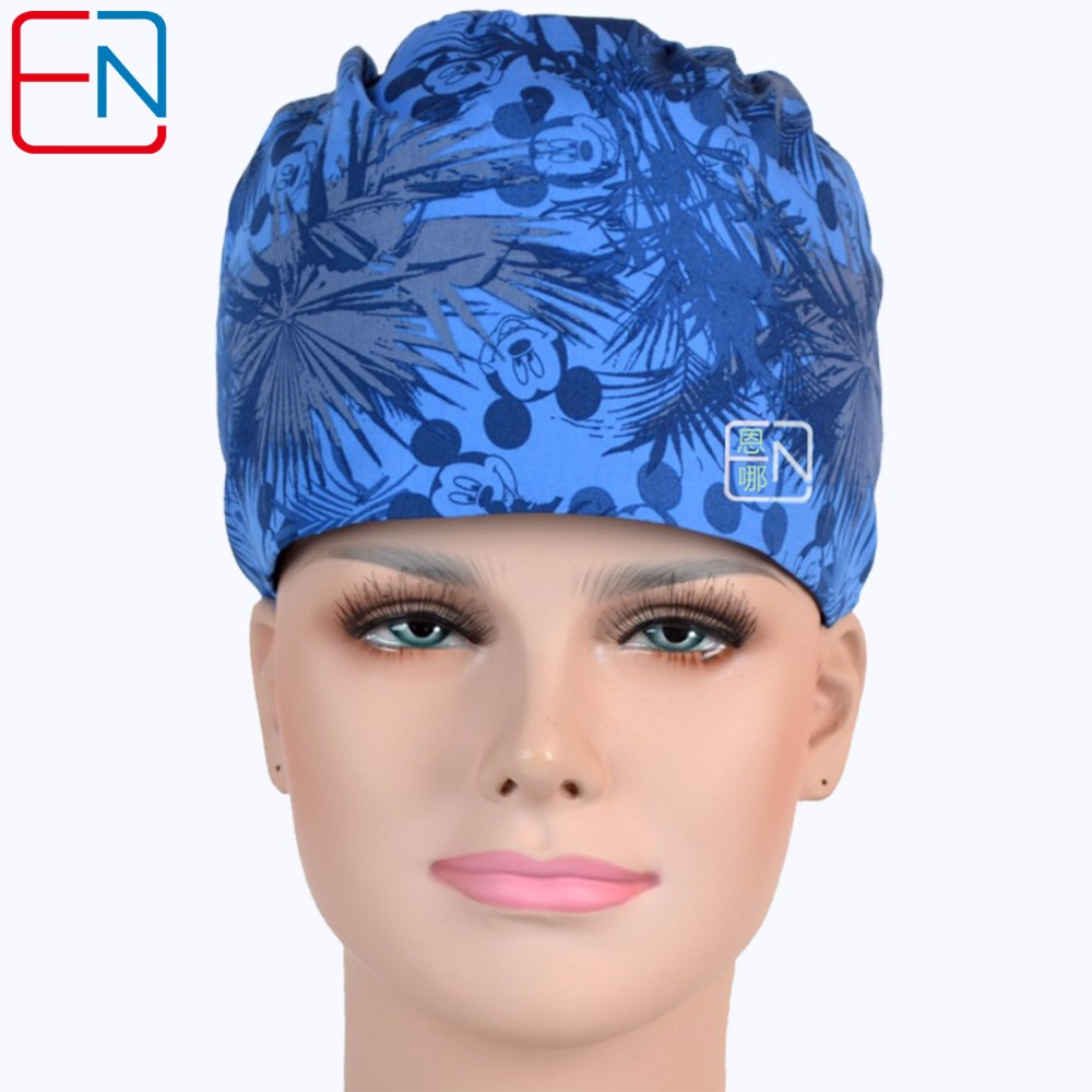 Hennar Hospital Pet Clinic Medical Cap Masks Women Cotton Blue Print Doctor Surgical Cap Adjustable Nurse Scrub Hat Masks