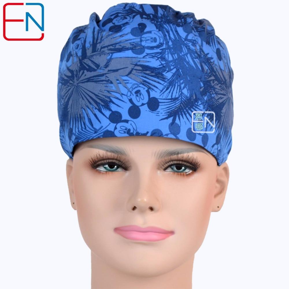 Hennar Hospital Pet Clinic Medicinska Cap Masker Kvinnor Cotton Blue Print Läkarmottagning Cap Justerbar Sjuksköterska Scrub Hat Masker