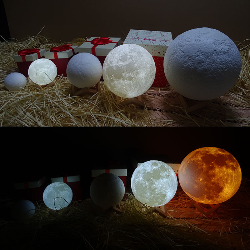 Rechargeable 3D Print Moon Lamp 2 Color Change Switch Bedroom Bookcase Night Light WWO66