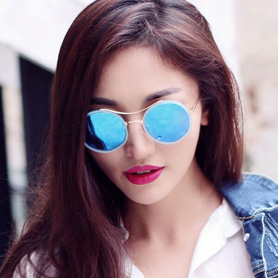 8592ccc5671 B J Retro Round Sunglasses Women Brand Designer Vintage Sun Glasses Women  Coating Sunglass Oculos De Sol Gafas lunette de soleil