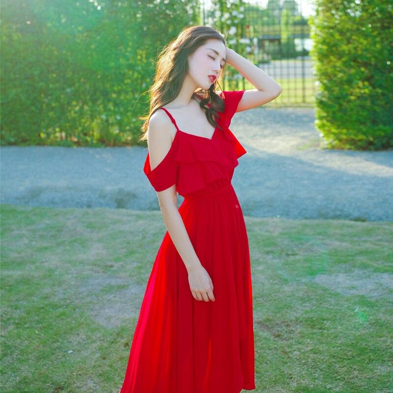 Women Summer Bohemia Shouldless Resort Beach Red Long Chiffon Dress girls cute party dresses 2018 new fashion V-neck vocation все цены