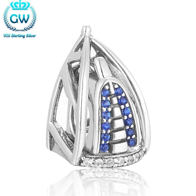 925 Sterling zilveren sieraden Dubai Burj Al Arab 3D-charme met blauwe steen Europese armbanden voor vrouwen GW merkjuwelen X386