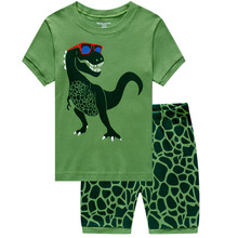 Summer Childrens Pajamas Little Boy Cartoon Green Dinosaur Home Sleepwear  Set Cotton Round Neck Clothes