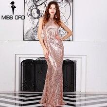 Missord Sleeveless Backless Chain Sequin Dress