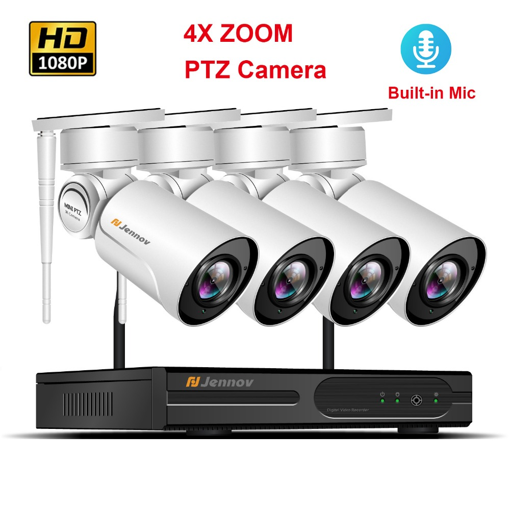 4CH 1080 P PTZ Wi-Fi видеонаблюдения Камера Системы Беспроводной NVR комплект 2.0MP 4xzoom 2,8 мм-12 мм аудио запись видео наблюдения Системы