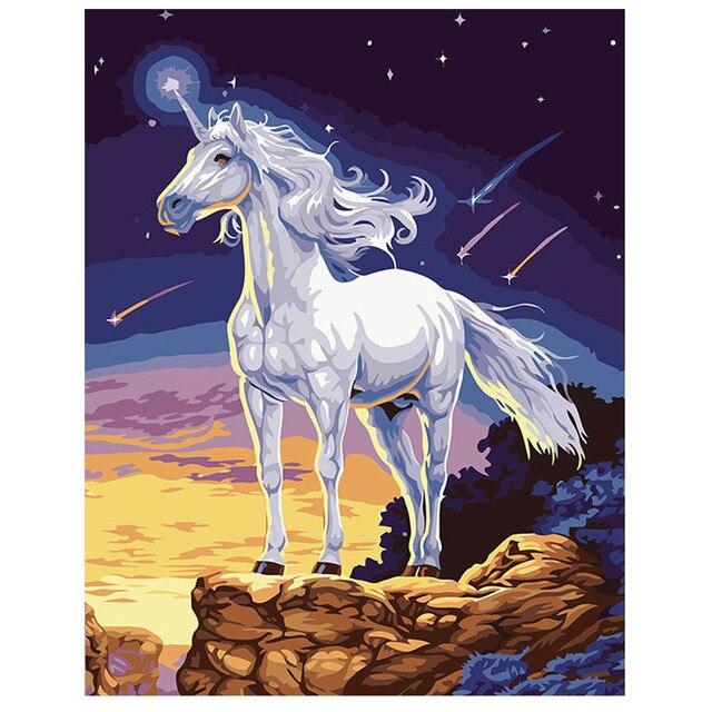 Unicorn Pola Mewarnai Lukisan By Numbers Acrylic Gambar Seni Dinding