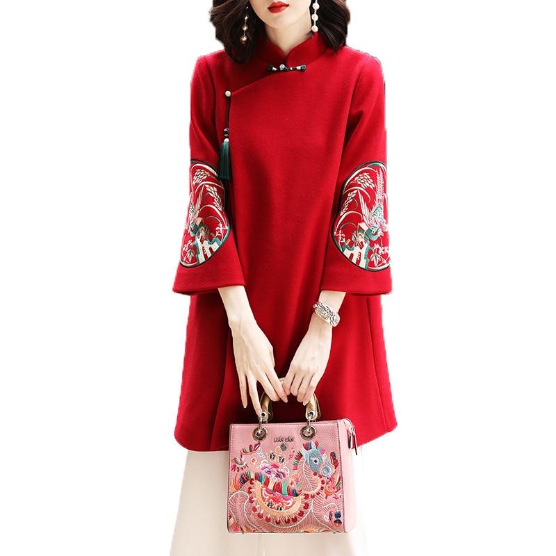 Pour Broderie B D'hiver Chinois Laine a Floral De Les Vintage Femmes Manteau N80Ovmwyn