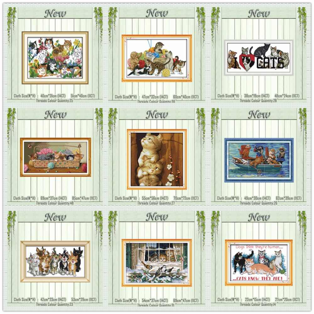 Eight Cats Newborn kittens painting counted printed the canvas DMC 11CT 14CT Cross Stitch kits needlework Set embroidery animals