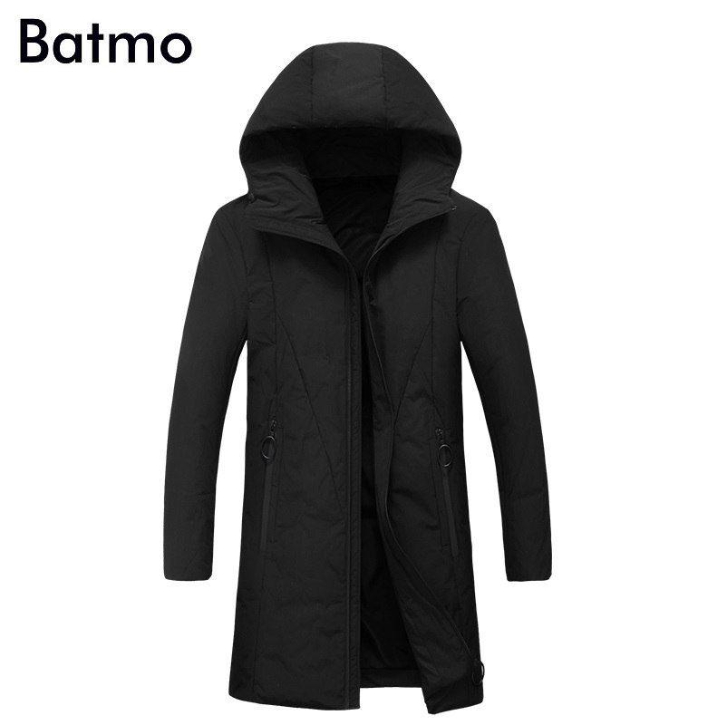 Batmo 2017 new arrival winter high quality 90% white duck down hooded long jakcet men,winter coat men 1780