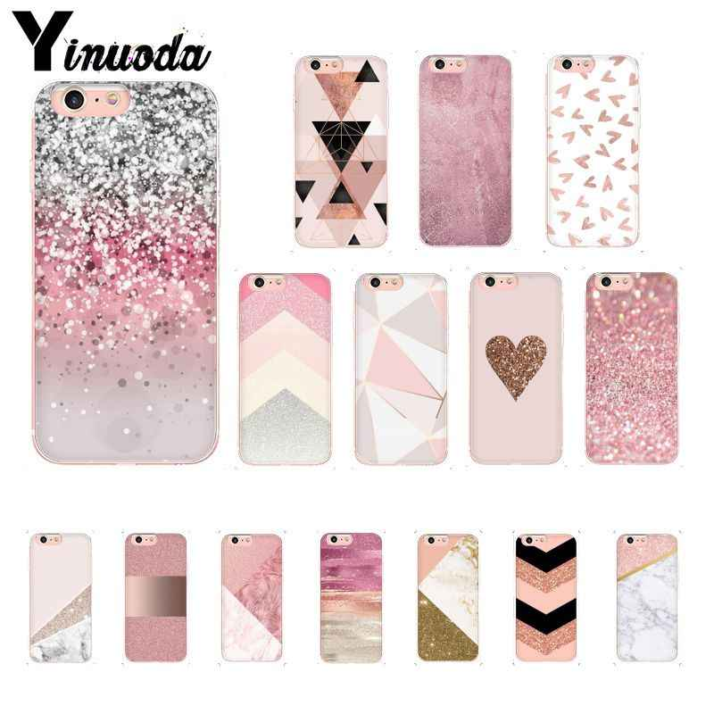 Yinuoda Ouro Pink Glitter Tampa Do Telefone Para O iphone 11 Mármore Pro Max X XS MAX 6 6s 7 8plus 5 5S SE XR
