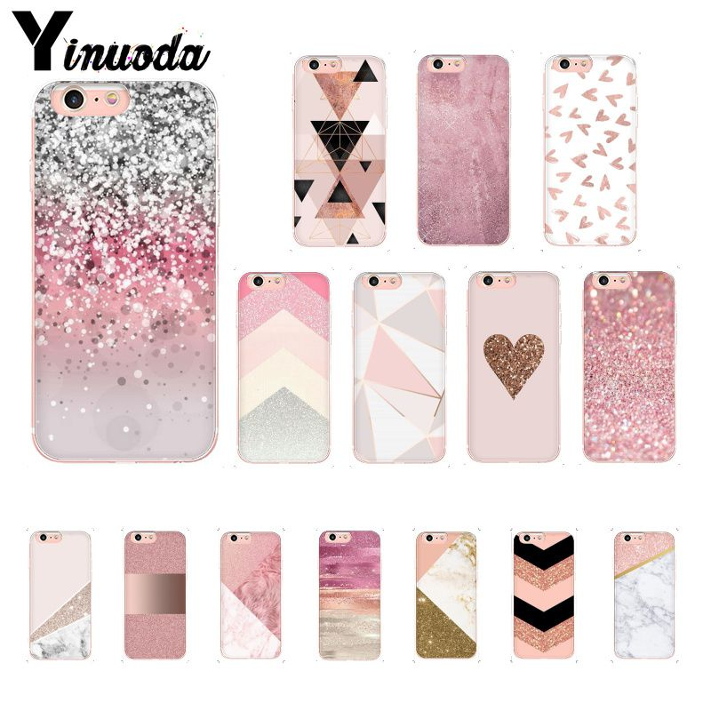 Yinuoda Gold Pink Glitter Marble Phone Cover For Iphone 11 Pro Max X XS MAX  6 6s 7 8plus 5 5S SE XR