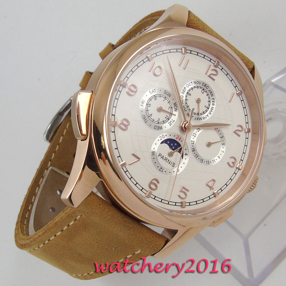 NEW 44mm PARNIS White Dial Rose Golden Case Date Indicator Leather 2019 Top Luxury Brand Automatic Movement mens WristwatchNEW 44mm PARNIS White Dial Rose Golden Case Date Indicator Leather 2019 Top Luxury Brand Automatic Movement mens Wristwatch