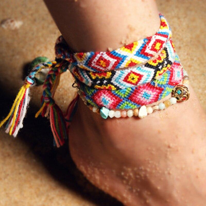 @1  Чешский пляж ручной работы женская йога ножной браслет 4 мм каменная бусина струнный набор ножной бр ★