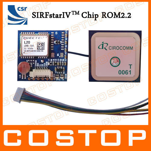 Free Shipping Cheaper GPS Module with patch active Antenna 6pin connector TTL Output SIRF IV Solution ( Quectel L20 )