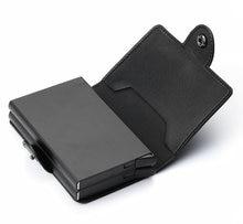 Zovyvol anti-roubo homem vintage 2 titular do cartão de crédito bloqueio rfid carteira de couro unissex informações de segurança metal alumínio bolsa