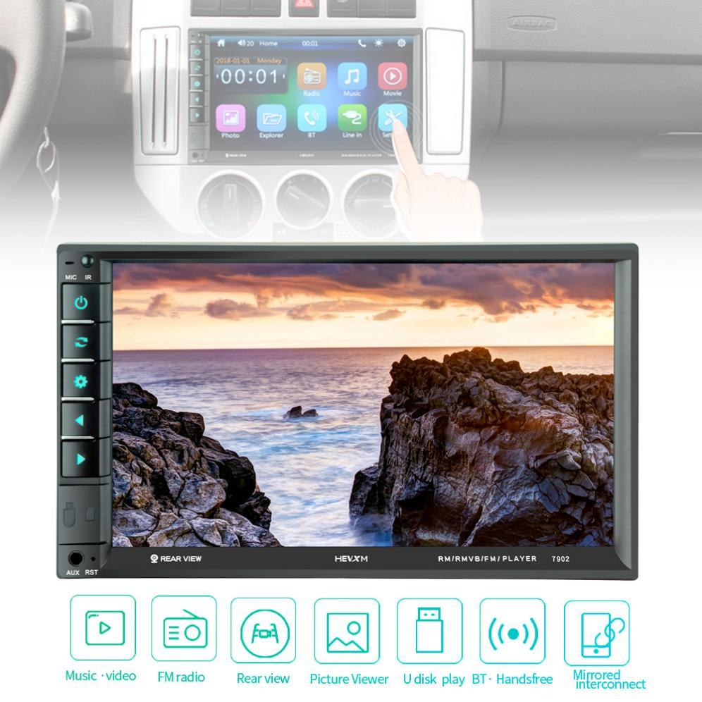 7 Inch 2 DIN Bluetooth In Dash Touch  Screen HD Car Video FM  Radio Stereo Player Support Mirror Link/Aux In/Rear View Camera7 Inch 2 DIN Bluetooth In Dash Touch  Screen HD Car Video FM  Radio Stereo Player Support Mirror Link/Aux In/Rear View Camera